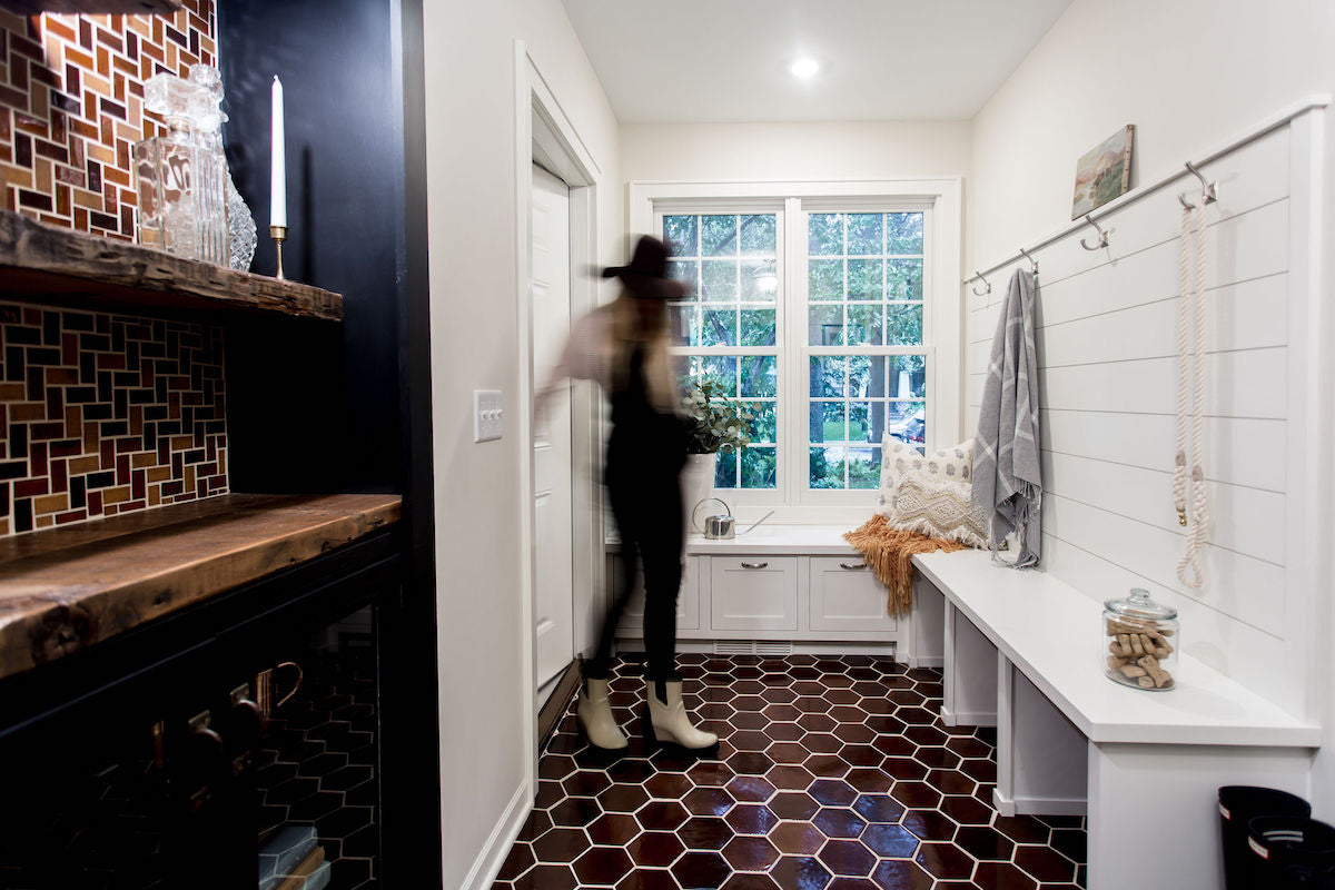 Tiled Mudroom and Bar Inspiration