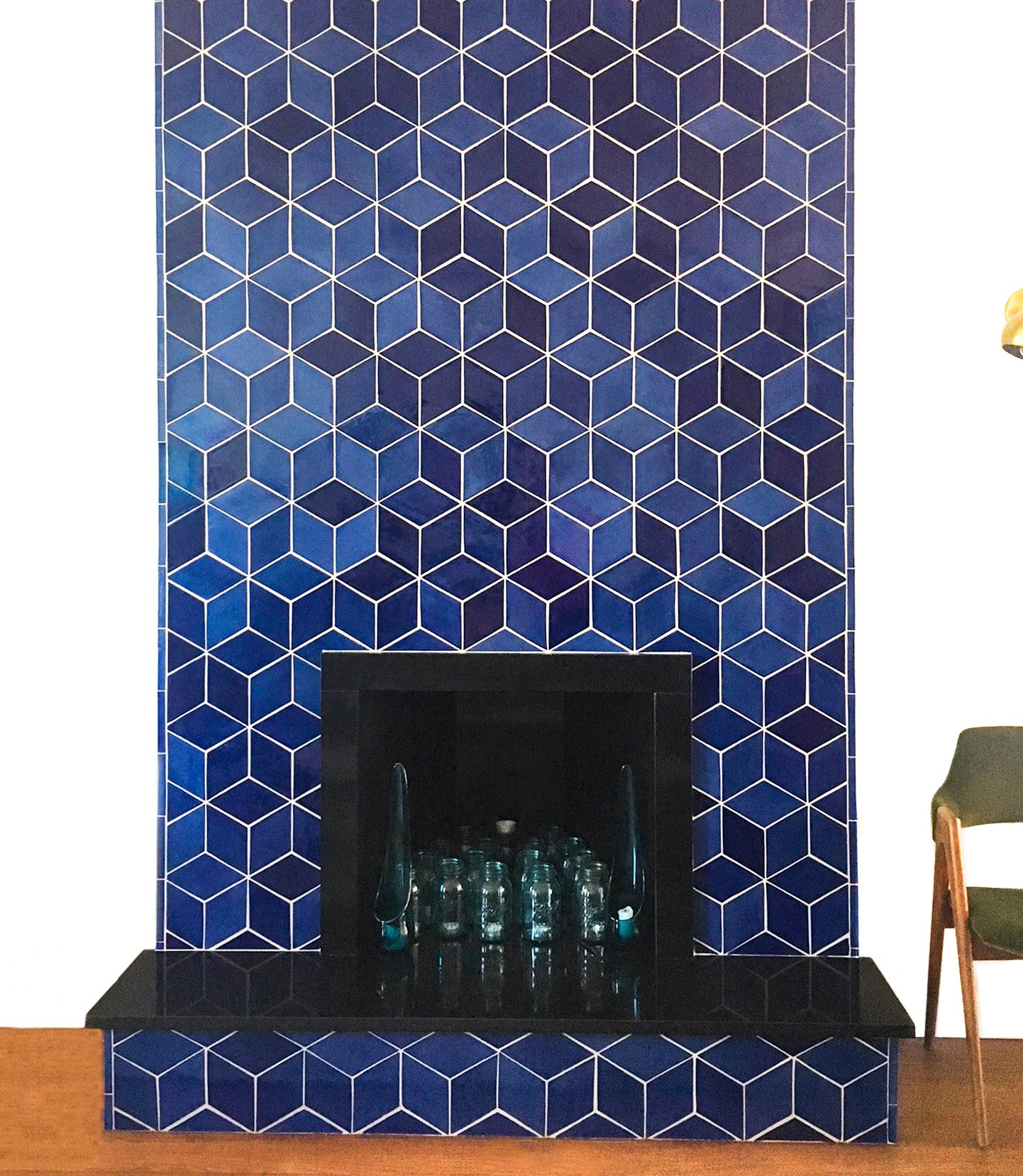 Vivid Blue Diamonds Fireplace