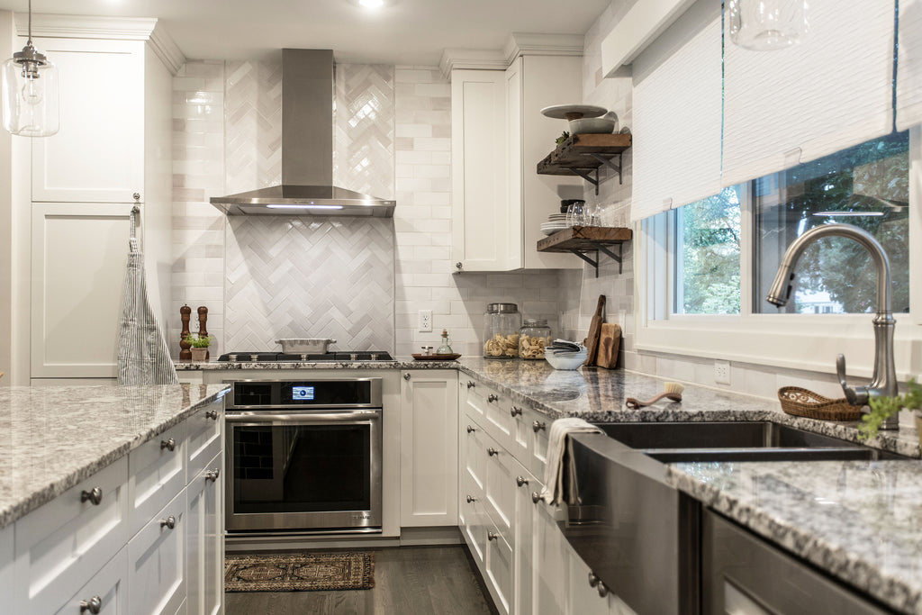 white herringbone kitchen tile