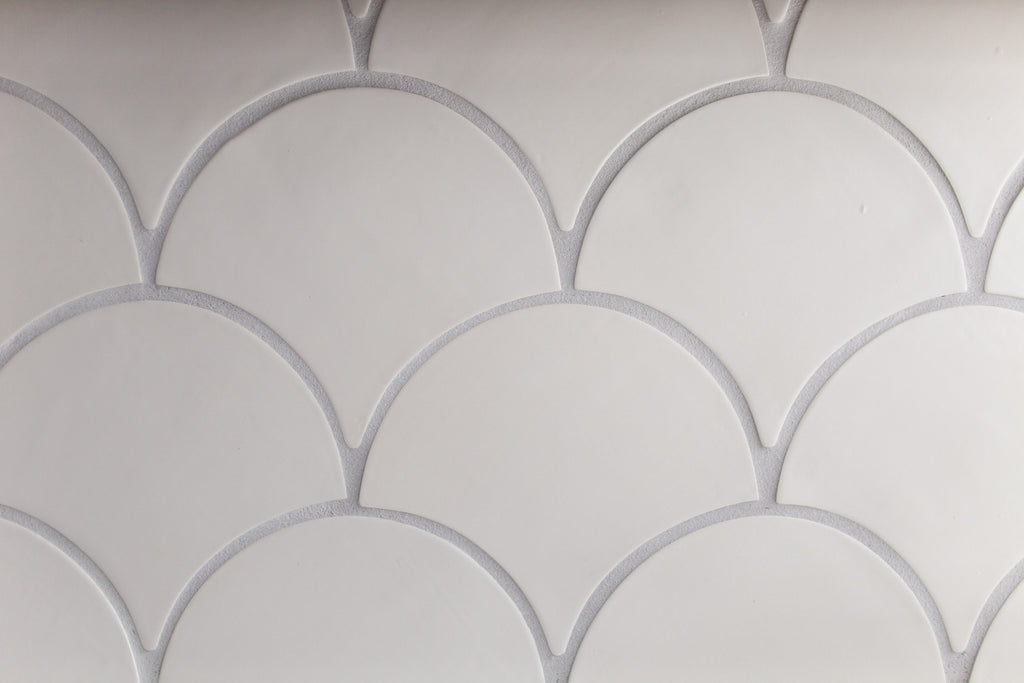 white fish scale tile