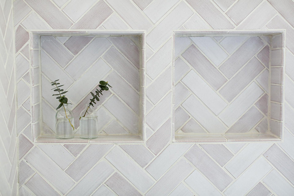 white Scandinavian herringbone tile