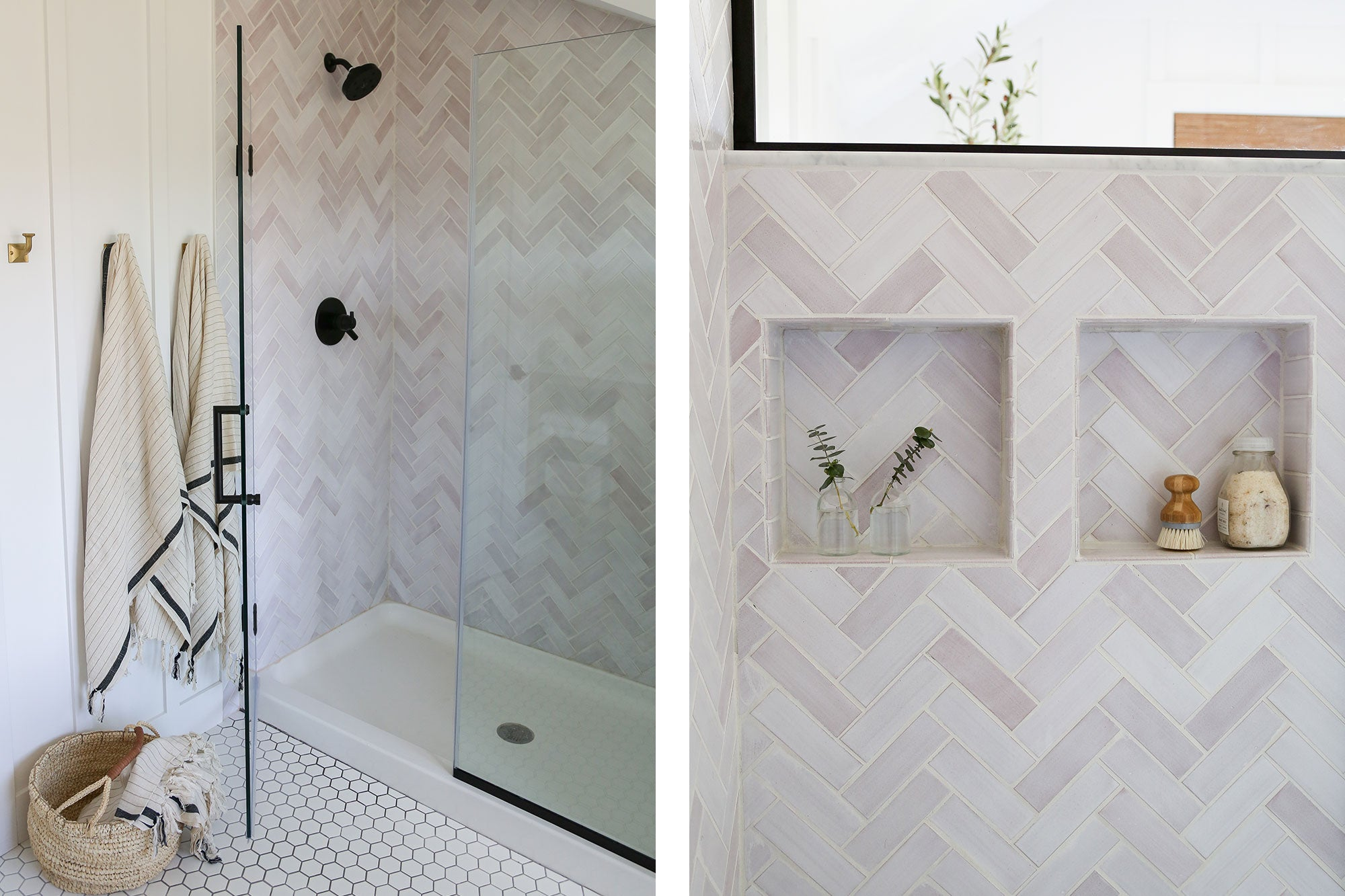 White Herringbone Ceramic Shower Walls
