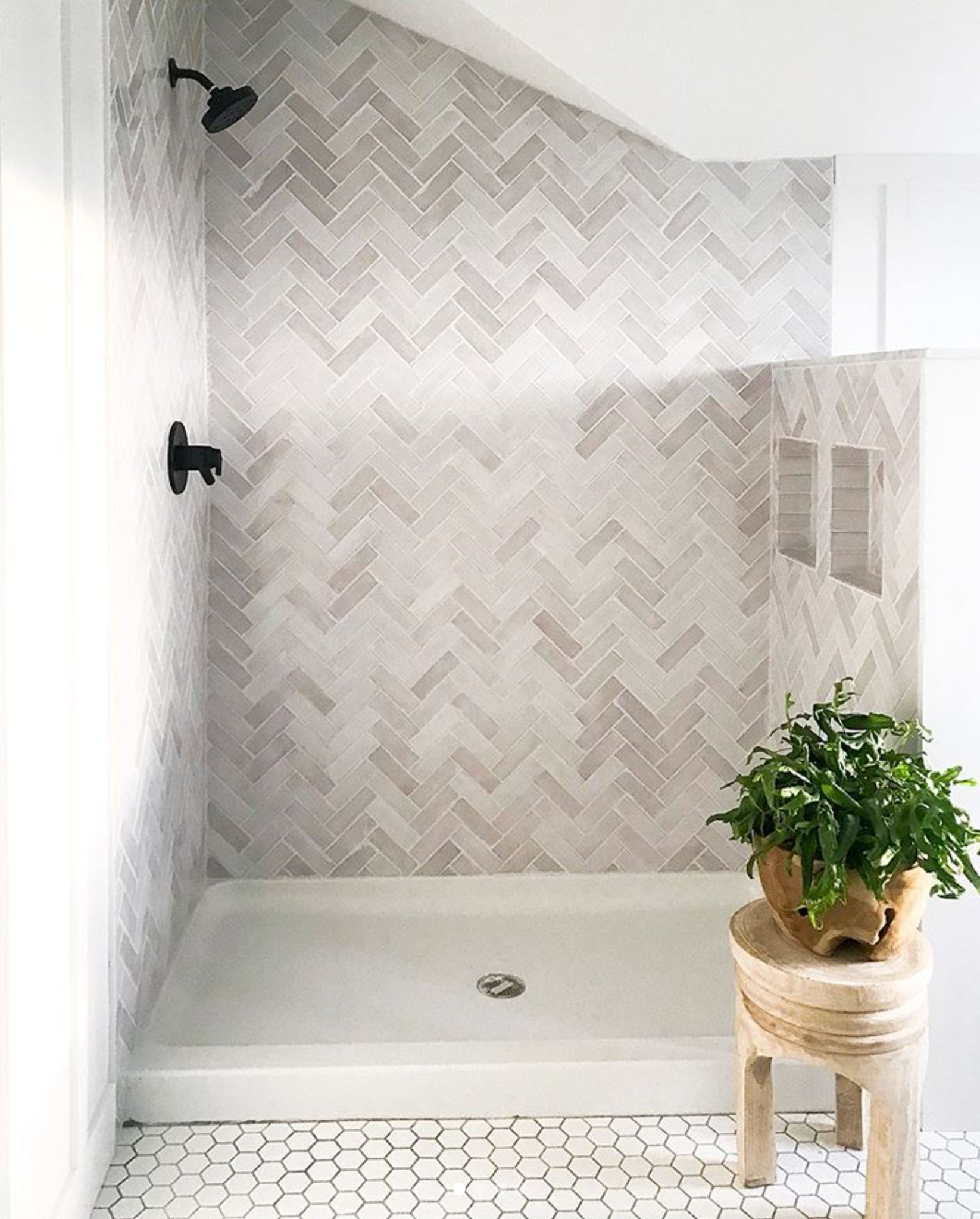 White Herringbone Tile Bathroom