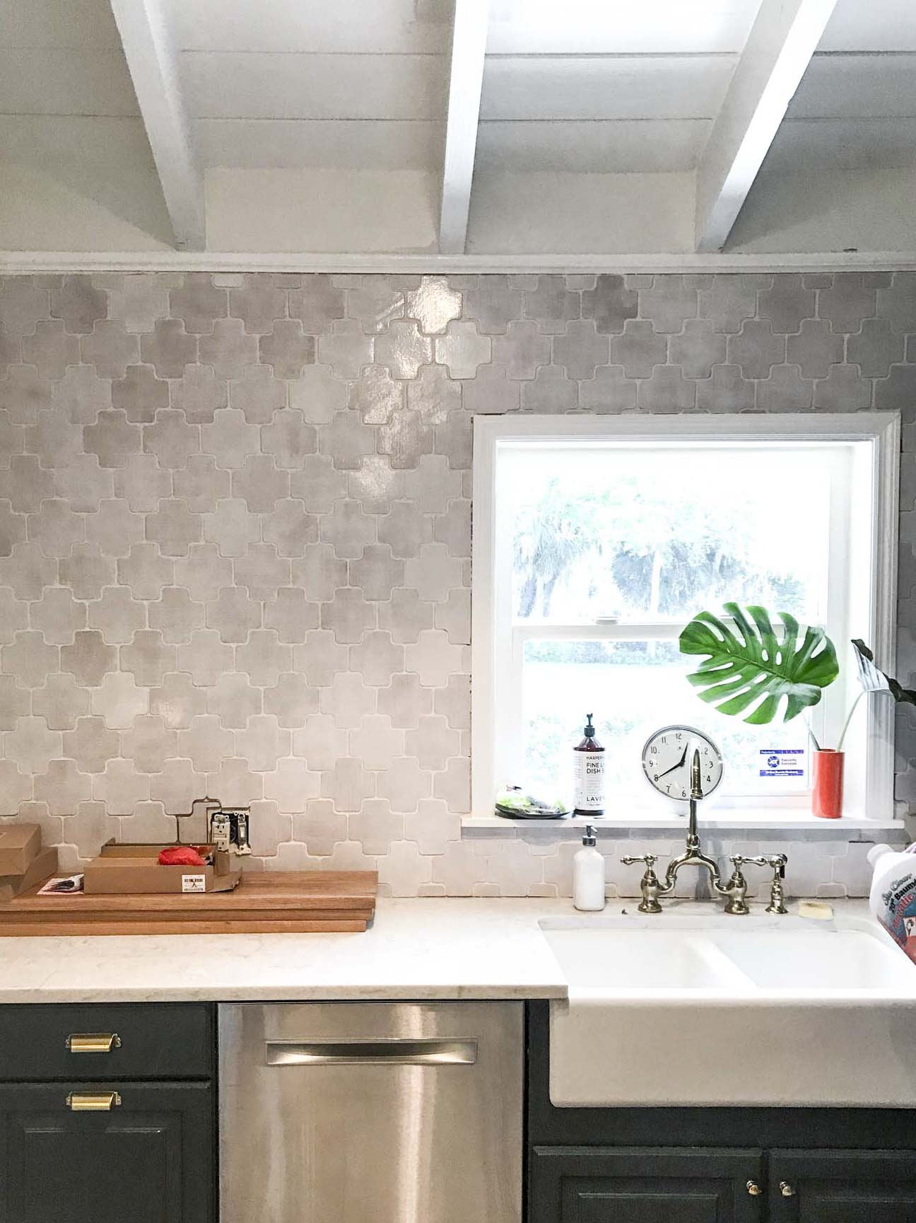 White Moroccan Crosses Kitchen Backsplash