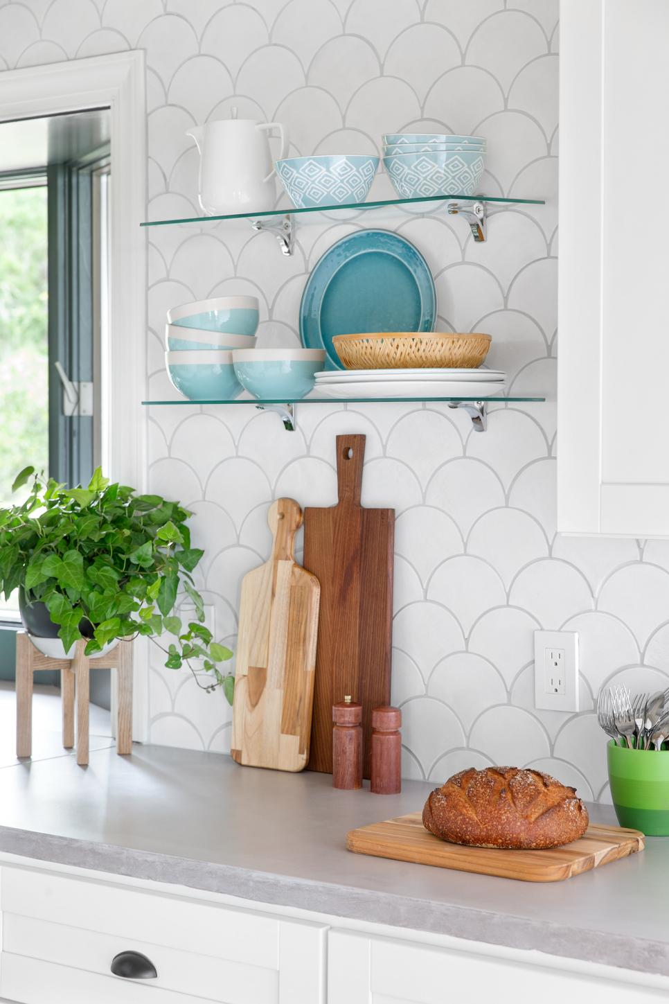 White Moroccan Fish Scale Tile Kitchen