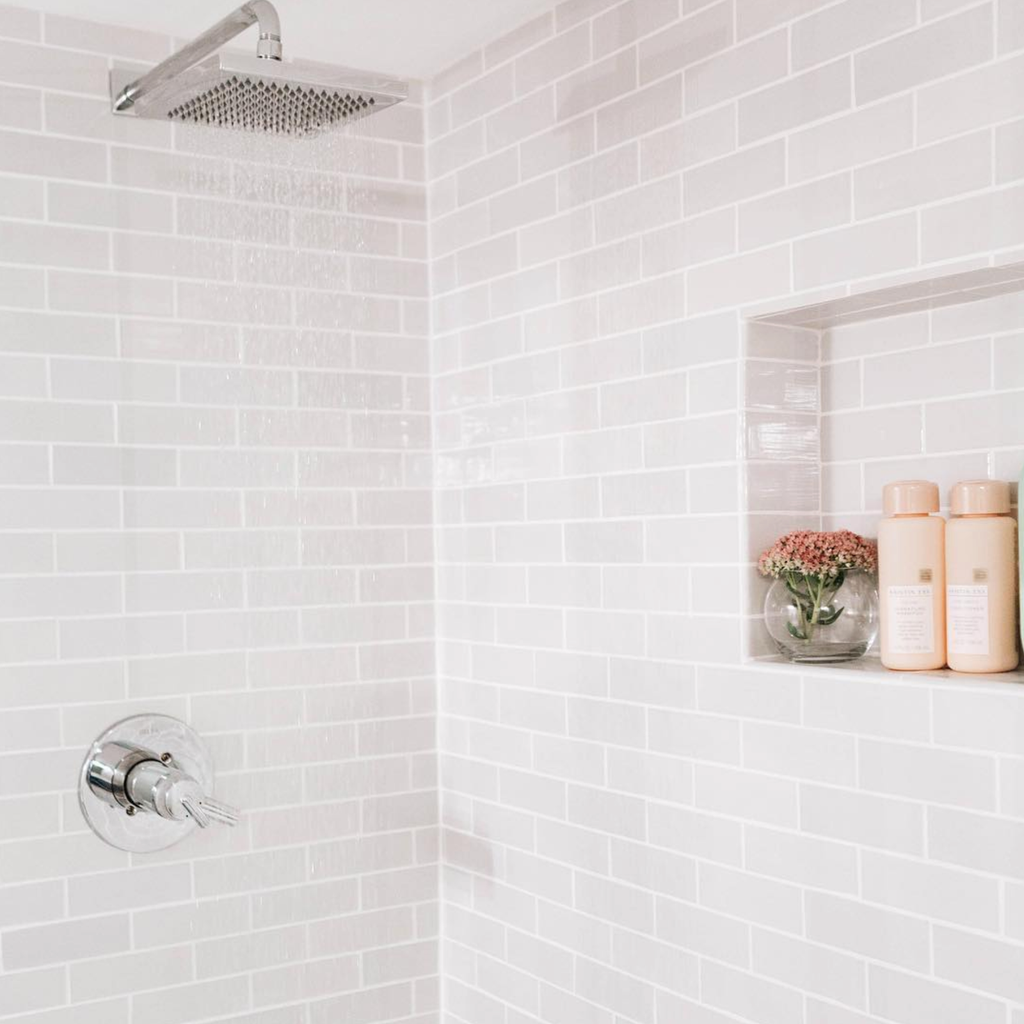 light grey subway tile shower