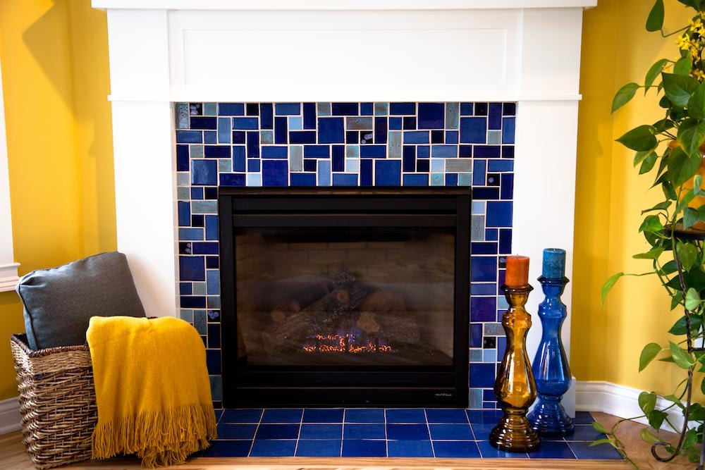 Blue Craftsman Fireplace