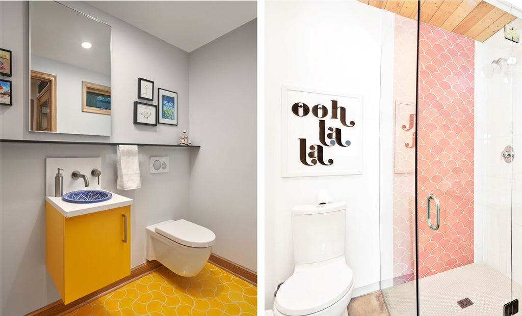 Pink and Yellow Colored Tile Bathrooms