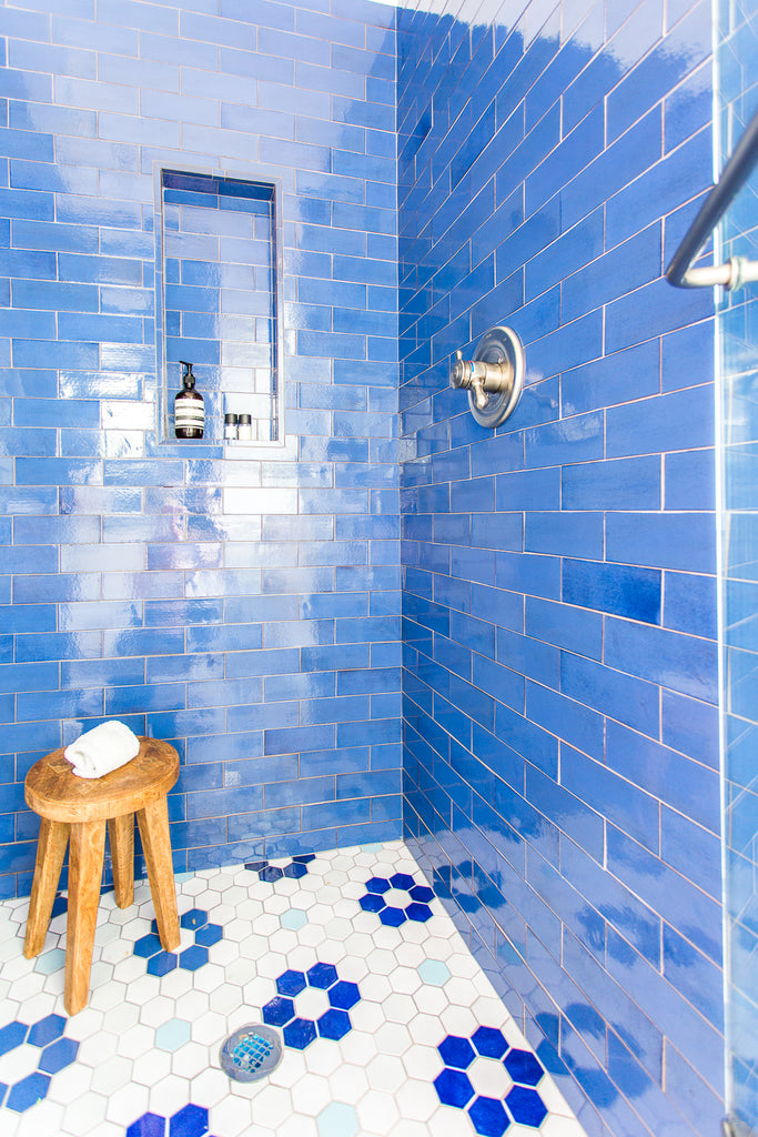 Pencil Shavings Blue Bathroom