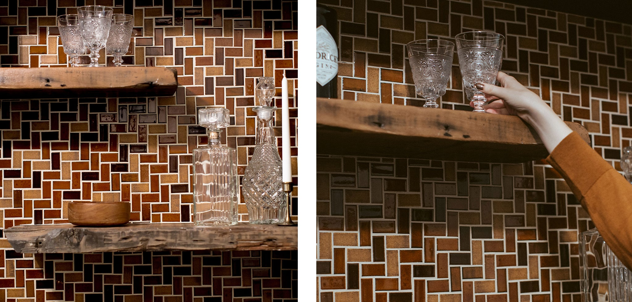 Warm Bar Backsplash Subway Tile