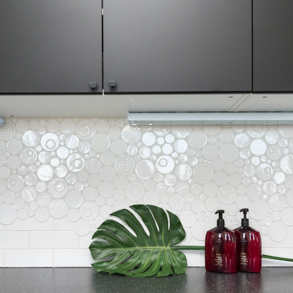 White Bubble Tile Statement Backsplash