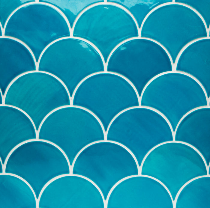 Large Moroccan Blue Fish Scale Tile