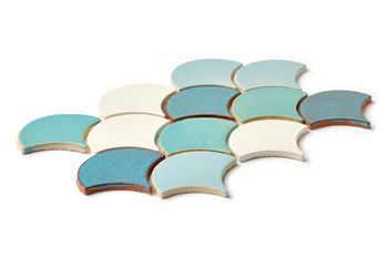 Medium Moroccan Fish Scales - Baby Blue Blend