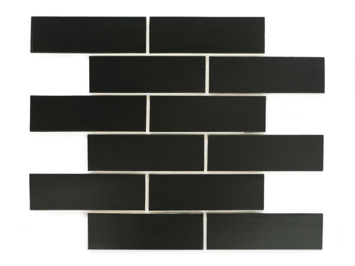 2x6 Satin Black Subway Tile Black Mosaic Wall Tiles Mercury