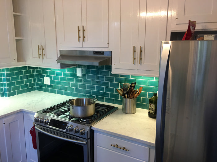3x6 Subway Tile Sea Mist Installed