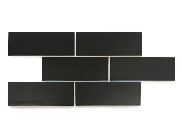 3x8 Subway Tile Satin Black