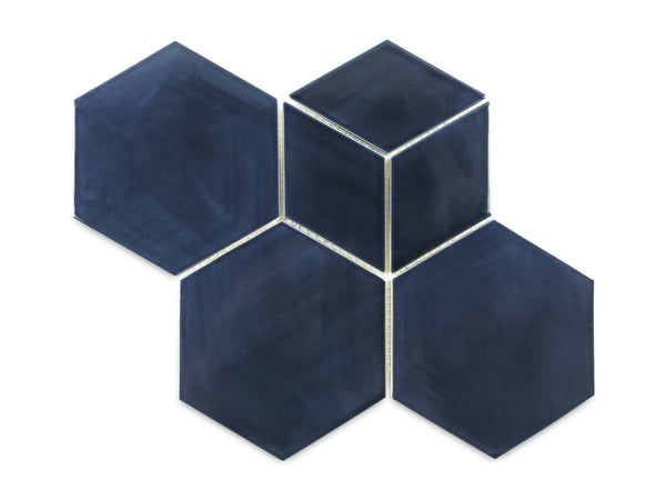 Hexagon & Diamond Pattern - 61 Navy