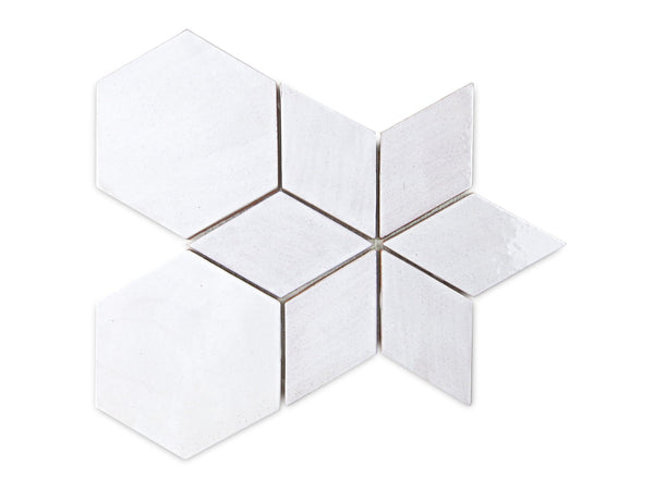 white diamond and hexagon tile