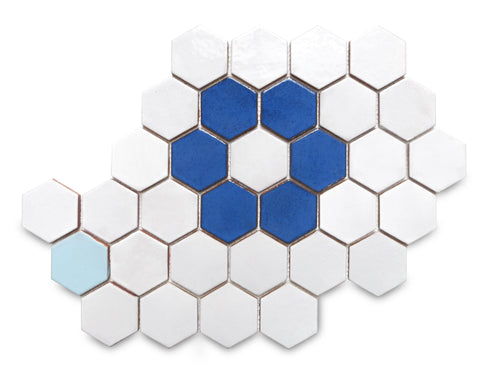 Hexagon Flower Pattern Floor Tile Blue and White