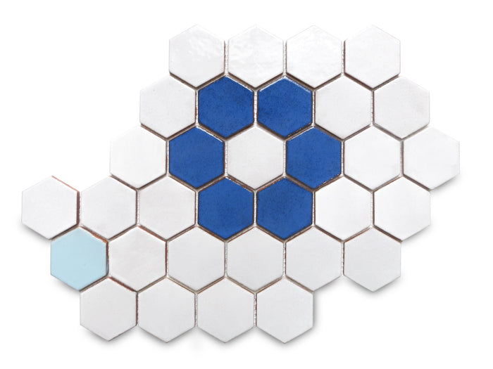 Regular Hexagon Flower Pattern - 130 White, 45R My Blue Heaven, 23 Sapphire Blue