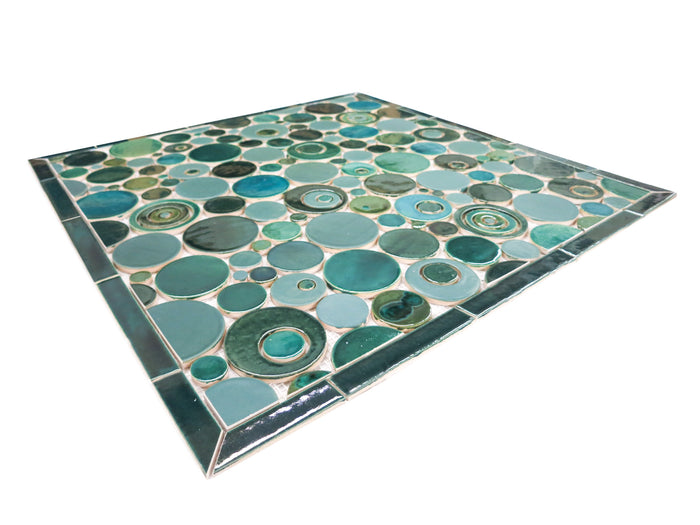 "26""x26"" Stove Splash - Bubbles - Teals"