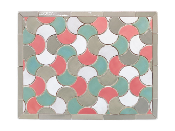 "20""x26"" Stove Splash - Medium Moroccan Fish Scales - Pink and Teal Retro"
