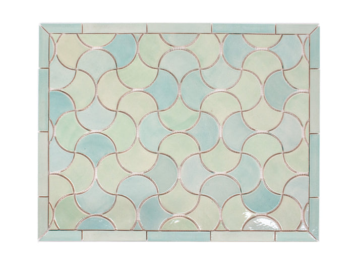 "20""x26"" Stove Splash - Medium Moroccan Fish Scales - Sea Glass"