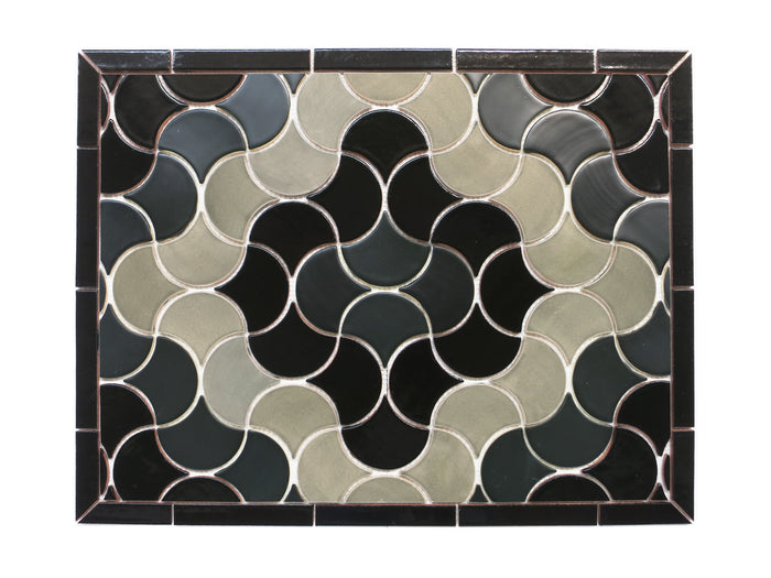 "20""x26"" Stove Splash - Medium Moroccan Fish Scales - Black and Grey"