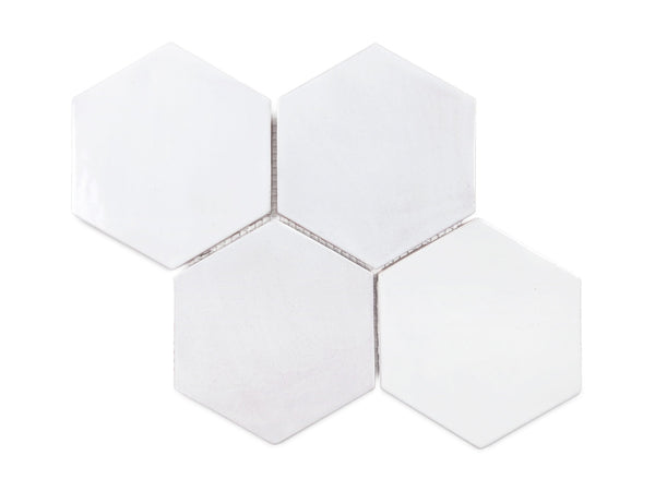 large hexagon tile white