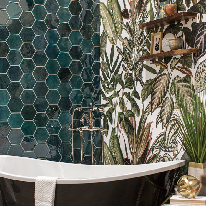 Green Hexagon Bathroom