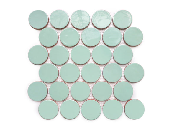Large Penny Rounds Tile Sheet - 32 Canton Jade