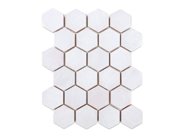 varied white hexagon ceramic tile