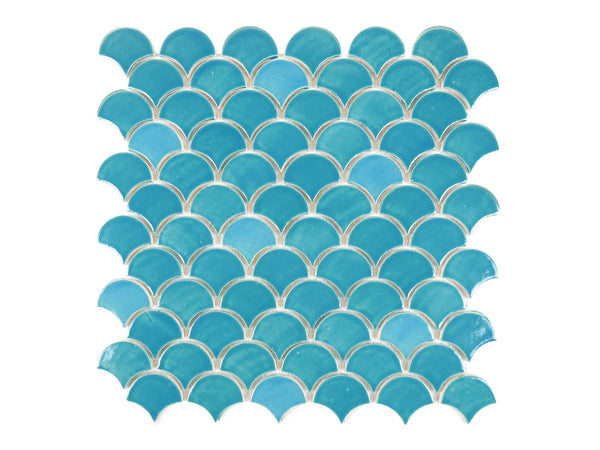 Small Moroccan Fish Scales 1015W Caribbean Blue