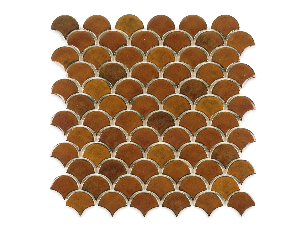 Small Amber Moroccan Fish Scale Tile By Mercury Mosaics