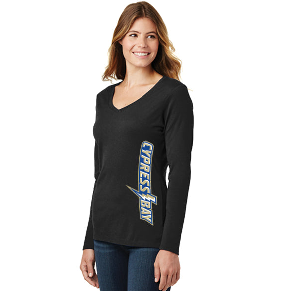 Ladies Long Sleeve Fan Favorite V-Neck Tee