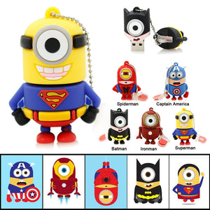 Little Yellow Guys Dressed as your favorite Comic Character USB 2.0 Flash Drive