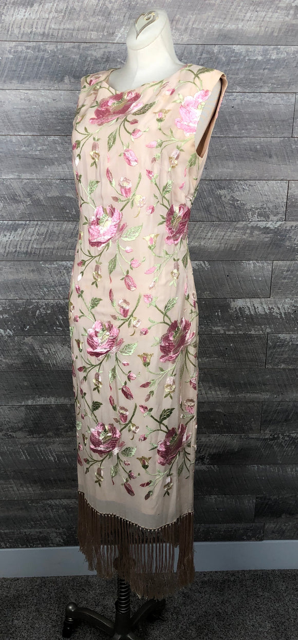 50s 60s silk embroidered 20s shawl dress