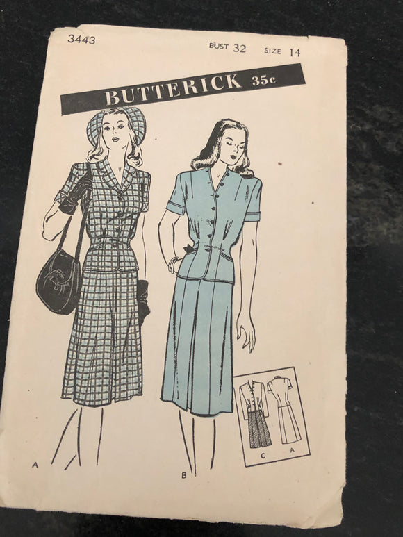 40s Butterick 3443 Two Piece Suit Dress