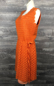 60s Tangerine crochet Dress w/ Slip