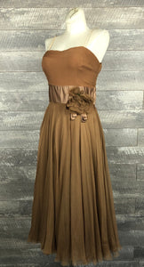 Vintage 50s brown chiffon dress