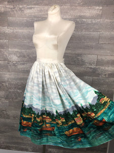 Bright Water Border Print Skirt
