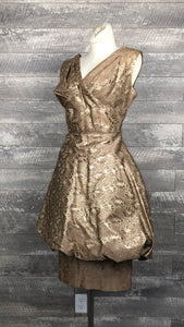 Vintage Smart Miss champagne brocade bubble dress