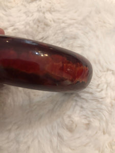 Marblized Wine Bakelite Clamper Bracelet
