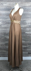 60s Sequined Waist Mocha Evening Gown
