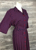 40s red and blue rayon plus dress