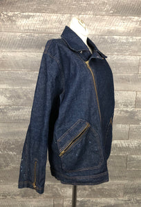 60s 70s side zip denim moto jacket