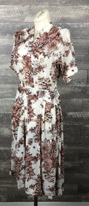 50s Novelty Print cottage Tree Dress
