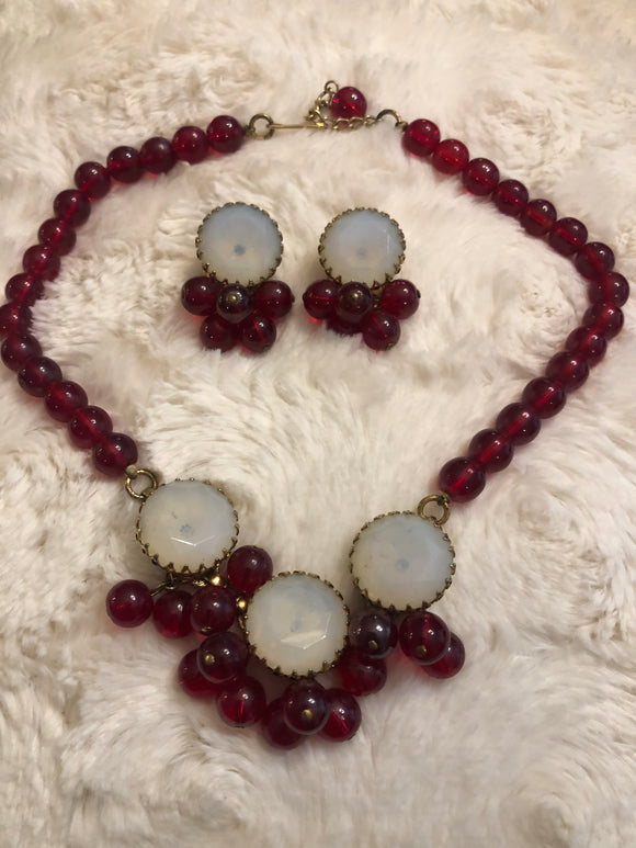50s Glass Moonstone & Cranberry Evening Wear Jewelry Set