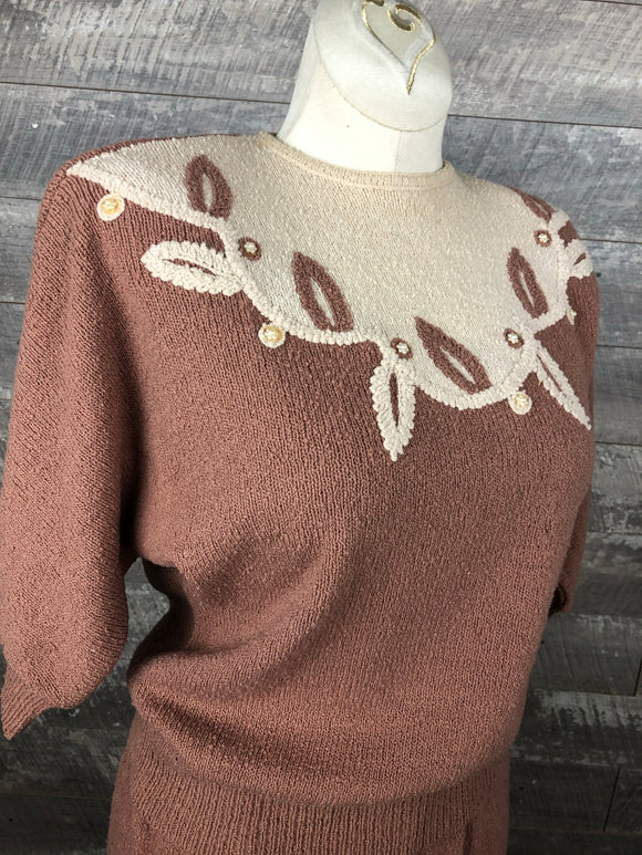 40s Taupe Wool Sweater Knit Set