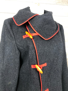 Grey Wool Red Pipe Toggle Coat